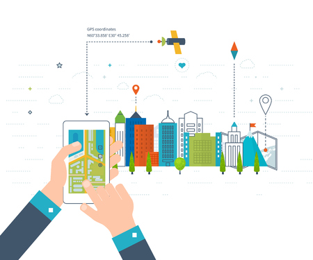 navegacion: Concepto de la ilustración de la celebración de los teléfonos inteligentes con sistema de navegación móvil. diseño moderno plano ilustración de conjunto de iconos del paisaje urbano y la vida urbana. mapa de navegación móvil. icono de la construcción.