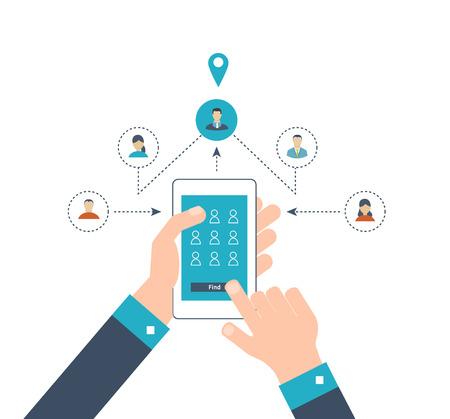 conclusion: Conceptos para encontrar el lugar adecuado y la gente en el mapa para los viajes y el turismo. navegación GPS móvil en la computadora portátil con el mapa. comminication en línea y el concepto de red social. Las tecnologías móviles