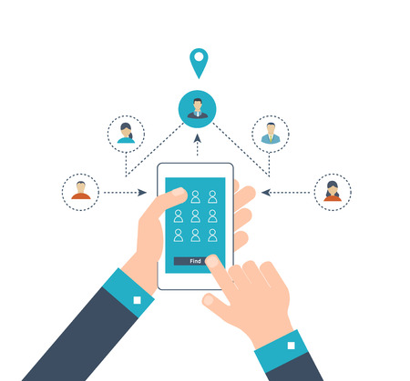 Concepts for finding the right place and people on the map for travel and tourism. Mobile gps navigation on laptop with map. Online comminication and social network concept. Mobile technologies
