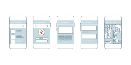 prototype: Flat collection of modern mobile phones with different user interface elements. Steps for creating mobile applications: prototype and design