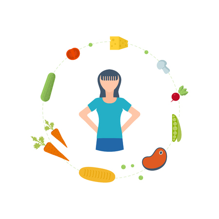 physical activity: Sport fitness girl exercise workout flat icon. Healthy lifestyle, healthy eating, fitness and physical activity concept.  Icons for cooking, fruits and vegetables, vegetarian food. Healthy food. Illustration