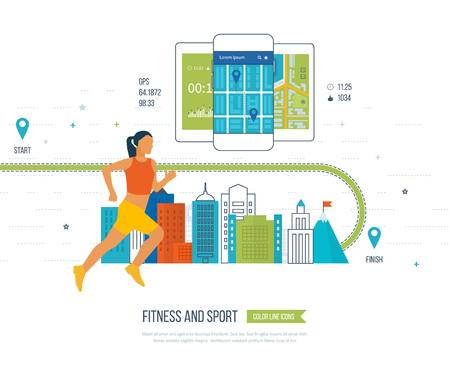 physical activity: Running woman. Modern flat icons of healthy lifestyle, fitness and physical activity. Healthy lifestyle and fitness concept. mobile phone - fitness app concept on touchscreen.