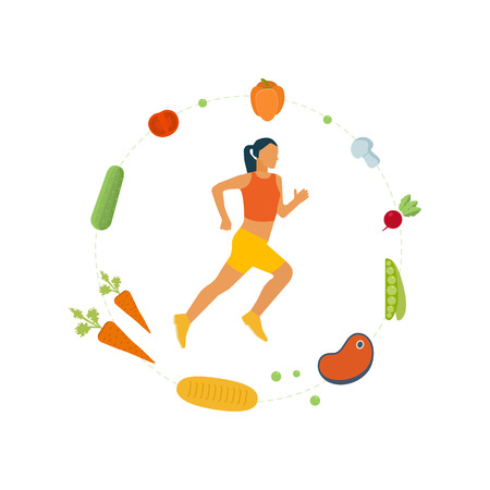 physical activity: Running woman. Modern flat icons of healthy lifestyle, fitness and physical activity. Healthy lifestyle and fitness concept. Icons for cooking, fruits and vegetables. Healthy food.