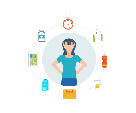 physical exercise: Sport fitness girl exercise workout flat icon. flat set of fitness woman. Flat illustration of fitness elements.  Healthy lifestyle, fitness and physical activity concept.