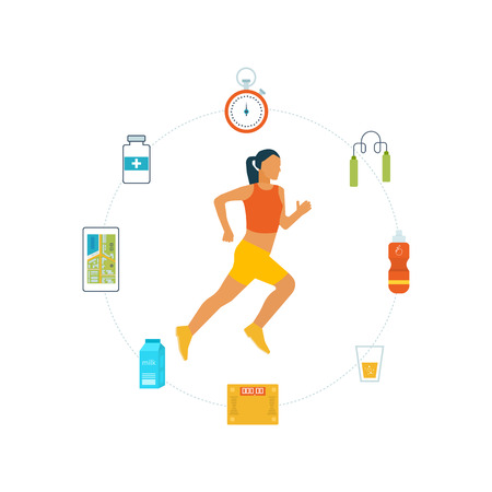 trainers: mobile phone - fitness app concept on touchscreen. Running woman. Modern flat icons of healthy lifestyle, fitness and physical activity. Healthy lifestyle and fitness concept.