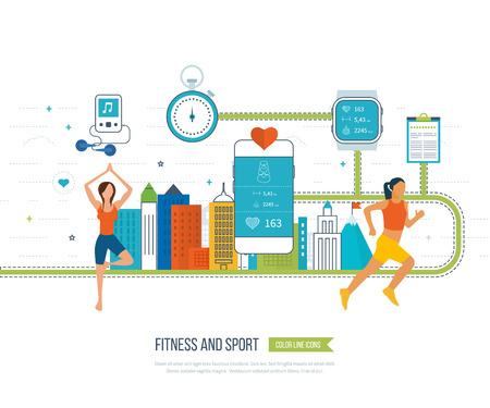Funcionamiento de la mujer. iconos planos modernos de estilo de vida saludable, la aptitud y la actividad física. teléfono móvil - concepto de fitness aplicación en la pantalla táctil. Las mujeres de yoga. Clase de yoga. Los ejercicios de yoga.