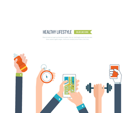 Modern flat icons of healthy lifestyle, fitness and physical activity. Exercising in the gym, training equipment and mobile application. mobile phone - fitness app concept on touchscreen.