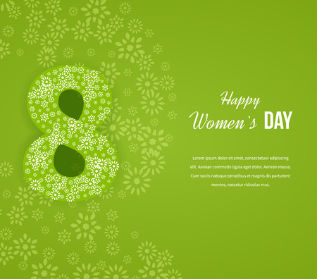 nude women: International Happy Womens Day concept with stylish floral decorated text 8th March. Postcard to March 8. Happy Womens Day background. Holiday Card.