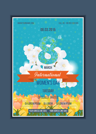 concept background: Happy Womens Day Party Flyer. Spring white flowers the blue sky background. Spring flowers. Postcard to March 8. Happy Womens Day background. Illustration