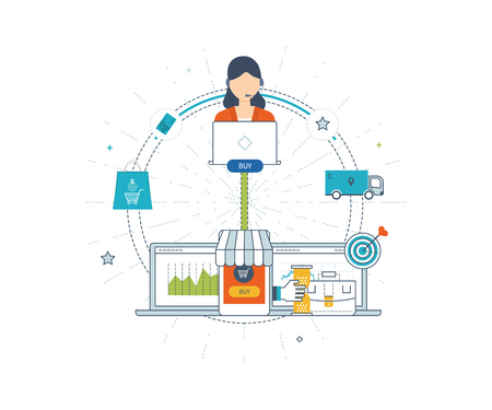 online service: Mobile marketing concept. Online shopping. Shopping basket. Online shop, online payment. Strategy for successful business. Delivery service. Investment business. Investment growth. Color line icons Illustration