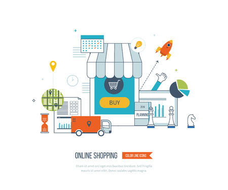 Mobile marketing concept. Online shopping. Shopping basket. Investment business. Strategy for successful business. Mobile banking. Delivery service. Color line icons