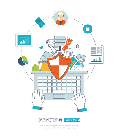 document: Flat shield icon. Data protection concept. Concepts for business analysis and planning, financial strategy and report, consulting, teamwork, project management and development. Business protection. Illustration
