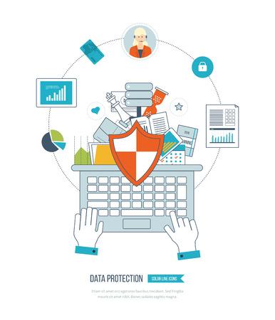 documentos: icono del escudo plana. concepto de protección de datos. Conceptos para el análisis de negocios y planificación, la estrategia financiera e informe, consultoría, trabajo en equipo, gestión de proyectos y el desarrollo. Protección del asunto.