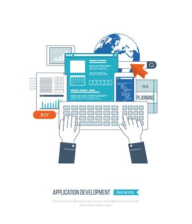 ebusiness: Modern flat design application development concept  for e-business, web sites, mobile applications, banners, corporate brochures. Vector illustration Illustration