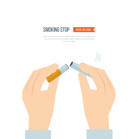 smoking stop: Stop smoking, human hands breaking the cigarette. No Smoking Sign. Isolated vector illustration