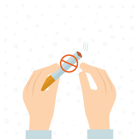 abstain: Stop smoking, human hands breaking the cigarette. No Smoking Sign. Isolated vector illustration