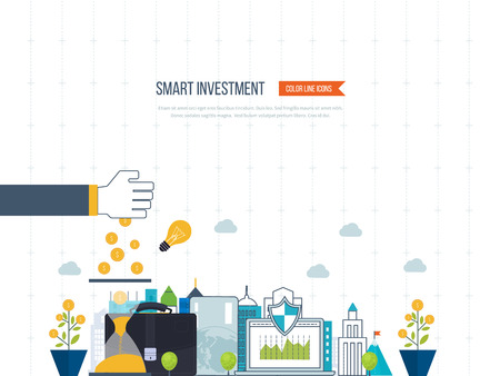 investment concept: Flat line design concept for real estate investment, finance, banking, market data analytics, strategic management, financial planning. Business diagram graph chart. Investment growth. Property investment
