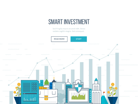 web template: Flat line design concept for smart investment, finance, banking, market data analytics, strategic management, financial planning. Business diagram graph chart. Investment growth. Property investment Illustration