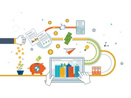 Diseño plano conceptos de ilustración para el análisis de negocios y planificación, estrategia financiera. Negocio de inversión. Crecimiento de la inversión. Protección del negocio. Estrategia para un negocio exitoso. Ilustración de vector