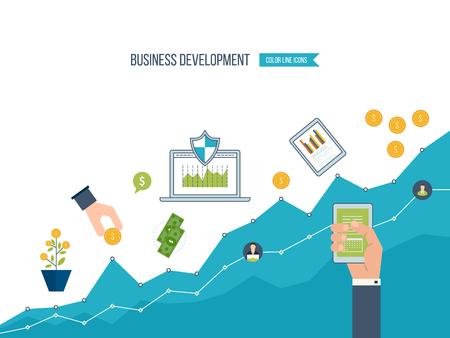 ビジネス開発。ビジネスを成功させる戦略。財務報告書と戦略。ビジネス図グラフ。投資の成長。投資ビジネス。