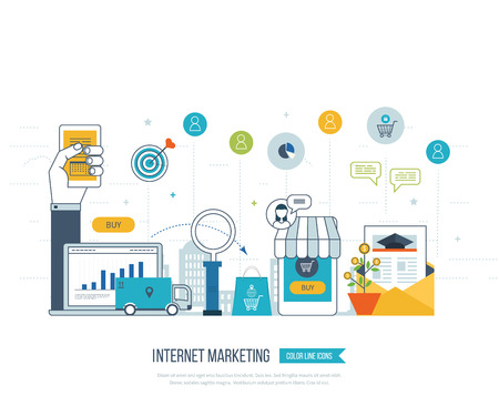 mobile internet: Mobile and internet marketing concept. Online shopping. Shopping basket. Investment business. Strategy for successful business. Mobile banking. Delivery service. Color line icons
