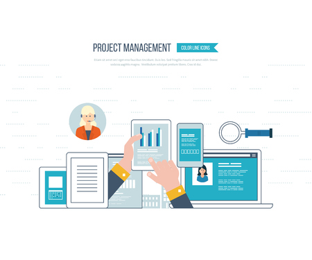 strategic management: Concept for business analysis, financial report, investment, consulting, strategy planning, project and strategic management, market data analytics. Management training. Management consulting. Illustration
