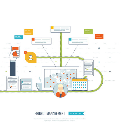 data system: Concept for business analysis, financial report, consulting, strategy planning, project management, market data analytics. Management consulting. Project management system. Management training Illustration