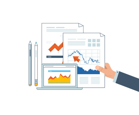 financial statement: Concepts for business analysis, financial statement, consulting, teamwork, project management and development. Investment business. Financial strategy and report. Strategy of successful business. Illustration