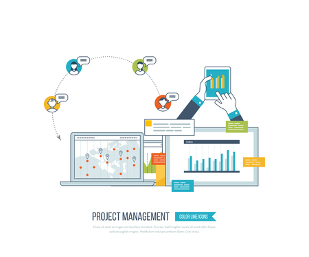strategic management: Concept for project and strategic management, investment, strategy planning, finance, market data analytics, financial report, education. Online training courses for investment. Investment growth.