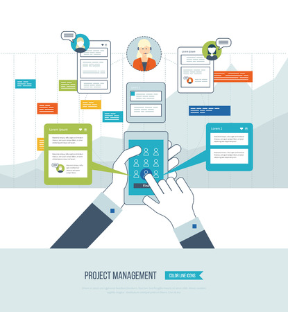 management concept: Concept for business analysis, financial report, consulting, strategy planning, project management, market data analytics. Management consulting. Project management system. Management training. Online training courses