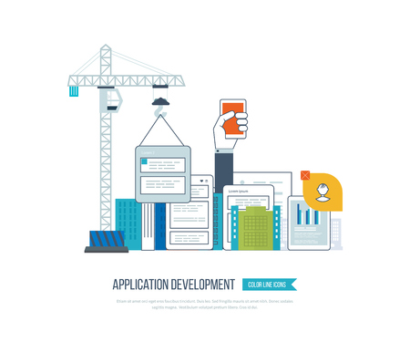 web design elements: Modern flat design application development concept  for e-business, web sites, mobile applications, banners, corporate brochures. Web application development.  Mobile apps development.