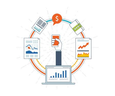 ビジネス分析と計画、財務戦略フラット設計図の概念。投資ビジネス。投資の成長。財務諸表およびレポート。ビジネス開発。ビジネスを成功させ