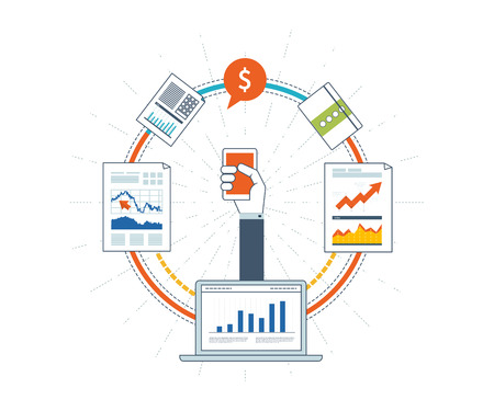 financial statement: Flat design illustration concepts for business analysis and planning, financial strategy. Investment business. Investment growth. Financial statement and report. Business development. Strategy for successful business.