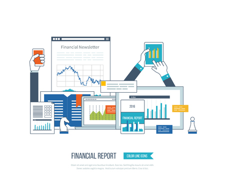 Concepts for business analysis, financial statement, consulting, teamwork, project management. Training courses for investment. Investment growth. Financial strategy and report. Online education. Stock Illustratie