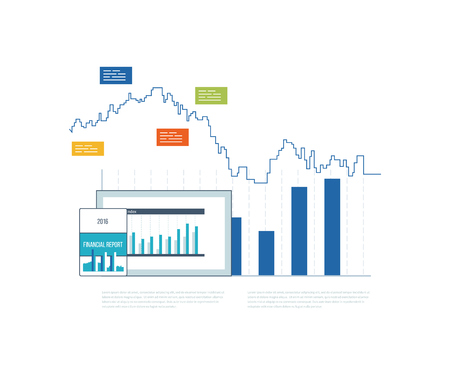 business concepts: Concepts for business analysis, financial statement, consulting, teamwork, project management and development. Investment business. Financial strategy and report. Strategy of successful business. Illustration