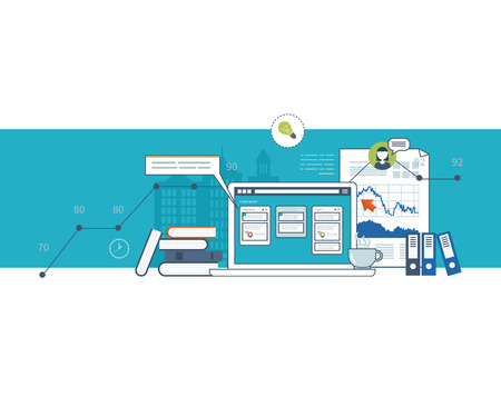 Concept for business analysis, financial report, consulting, strategy planning, project management, market data analytics. Management consulting. Project management system. Management training Illustration