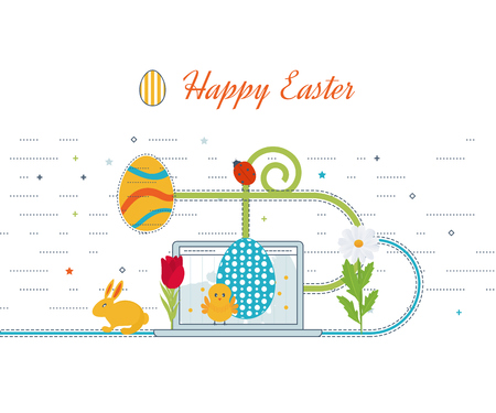 blog design: Happy Easter Card with Eggs, Grass, Flowers.  Easter egg design set. Happy Easter isolated. Easter egg poster. Happy Easter illustration for greeting card, ad, poster, flier, blog, article