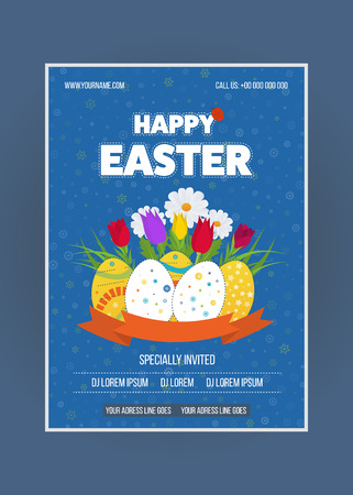 blog design: Happy Easter poster. Happy Easter Card with Eggs, Grass, Flowers.  Easter egg design set. Happy Easter isolated. Happy Easter illustration for greeting card, ad, poster, flier, blog, article