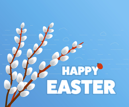 blog design: Easter card with pussy willow tree. Easter egg design set. Happy Easter isolated. Easter poster. Happy Easter illustration for greeting card, ad, poster, flier, blog, article Illustration