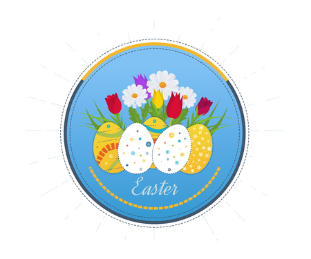 flier: Happy Easter Card with Eggs, Grass, Flowers.  Easter egg design set. Happy Easter isolated. Easter egg poster. Happy Easter illustration for greeting card, ad, poster, flier, blog, article
