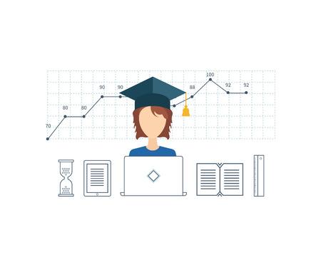 Concepto para la planificación de la estrategia, análisis de datos de mercado, gestión estratégica, gestión de proyectos. cursos de formación en línea. E-learning. Educación en línea.