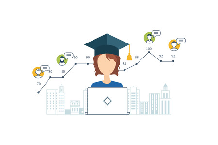 strategic management: Concept for strategy planning, market data analytics, strategic management, project management. Online training courses. E-learning. Online education.