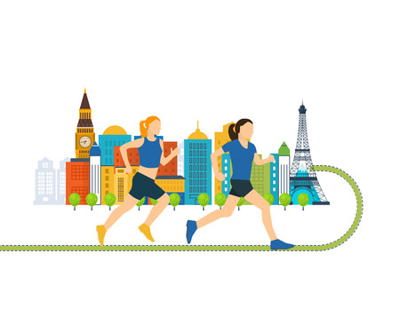 Running woman. Run in Europe. Color line icons of healthy lifestyle, fitness and physical activity. Healthy lifestyle and fitness concept. Urban landscape and city life concept Illustration