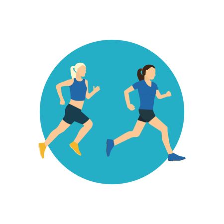 trainer device: Running woman. Jogging woman. Color line icons of healthy lifestyle, fitness and physical activity. Healthy lifestyle and fitness concept. Illustration