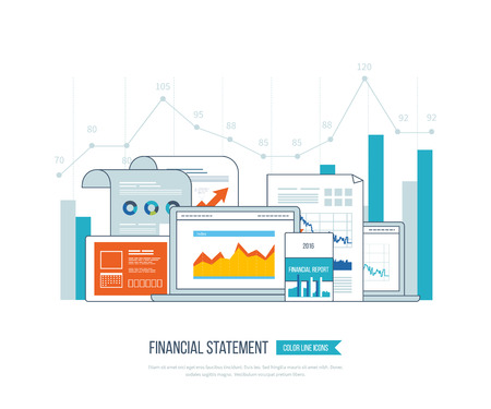 finance concept: Concepts for business analysis, financial statement, consulting, teamwork, project management. Training courses for investment. Investment growth. Financial strategy and report. Online education. Illustration