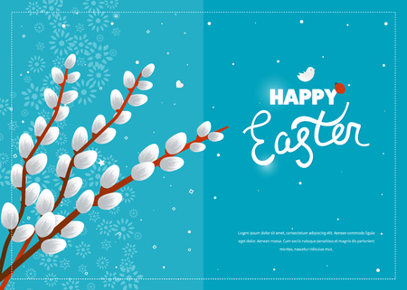 willow tree: Happy Easter. Easter card with pussy willow tree. Happy Easter logo template. Easter Sunday. Easter Day. Hand Lettering. Happy Easter illustration for greeting card, invitation, poster, banner