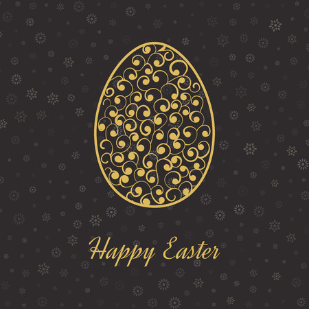 Happy Easter Card with Eggs. Easter invitation. Easter egg design set. Easter Day. Easter Sunday. Easter Art. Happy Easter illustration for greeting card, poster, banner. Black and Gold greeting card