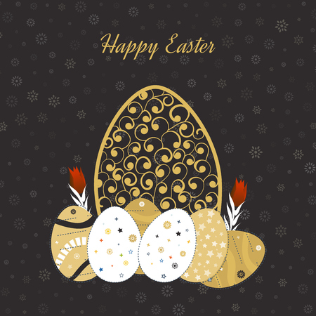 golden daisy: Happy Easter Card with Eggs. Easter invitation. Easter egg design set. Easter Day. Easter Sunday. Easter Art. Happy Easter illustration for greeting card, poster, banner. Black and Gold greeting card