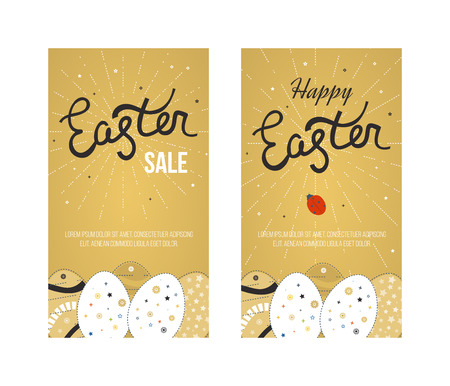 easter eggs: Happy Easter Card with Eggs. Easter invitation. Easter egg design set. Easter Day. Easter Sunday. Easter Art. Happy Easter illustration for greeting card, poster, banner. Black and Gold greeting card