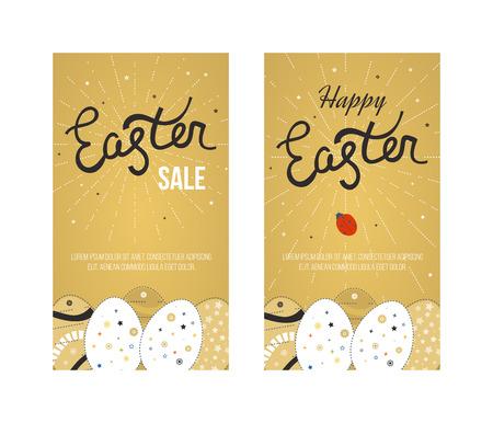huevos de pascua: Tarjeta de Pascua feliz con los huevos. invitación de Pascua. Conjunto de Pascua diseño del huevo. Día de Pascua. Domingo de Pascua. Arte Pascua. Ilustración de Pascua feliz para la tarjeta de felicitación, carteles, bandera. tarjeta de felicitación y Negro Oro Vectores